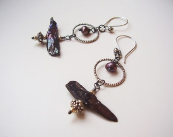 Artisan Pearl Earrings Oxidized Sterling Silver and Stick Pearl Long Dangle Earring with Bali Sterling Siver Accents