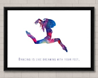Dance Quote Fine Art Print, Watercolor Print, Wall Hanging, Home Decor,Wall art
