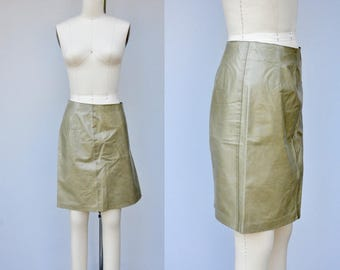 SALE Vintage Leather Skirt - RUGBY North America Leather Skirt - Sage Green Leather Skirt - Buttery Soft Leather Skirt - Supple Boho 2 - XS