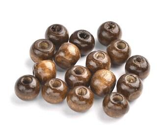 Selle marron en bois teintes perles - 12mm de diamètre, 10,5 mm d'épaisseur, la taille du trou 4 mm