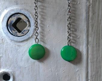 Green Mother of Pearl Dangle Earrings