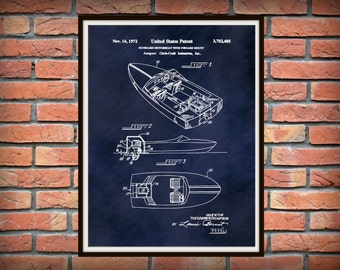 Patent 1972 Chris Craft Mahogany Wooden Boat - Outboard Motorboat with Inboard Mount Art Print  - Wall Art - Nautical - Marina Wall Art