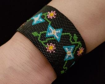 Butterfly Cuff Bracelet Peyote Pattern,