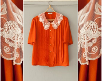 Vintage Blouse Burnt Orange Button Up Top Womens Large Lace Collar Blouse Pin Tuck Button Down Top Orange Sheer Blouse Short Sleeve Blouse L
