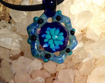 Blown Glass Pendant, Blue Mandala Necklace, Hand Blown Glass Necklace, Glass Jewelry, star Mandala