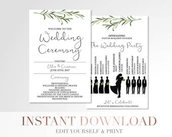 Printable Simple Greenery Wedding Program // Custom Program // Silhouettes Wedding Program // Laurels and Leaves // Stationery // Templett