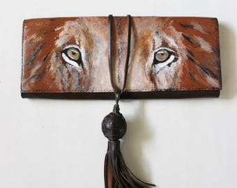 SOLD, Message for a remake -- Lion purse, painted clutch, leather, handpainted by Stars on Mars.