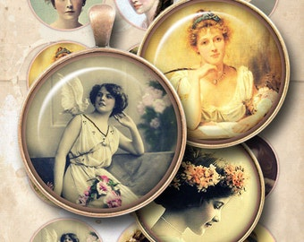 Girls digital collage sheet, 2 inch circle images, pocket mirror images, jewelry handmade, vintage women, images for pendants, printable