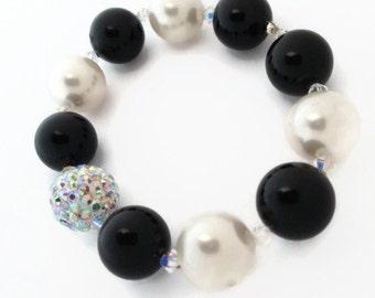 Swarovski Black and White Pearl Bracelet, Swarovski Pearl Bracelet, Pave Bracelet, Bridal Bracelet
