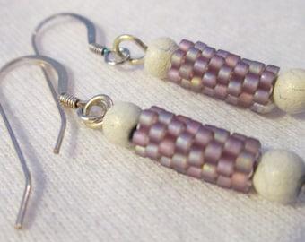 Lavender Delica Beaded Earrings