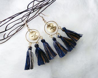 Earrings gold and Navy Blue tassels
