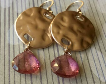 Pink Mystic Quartz- 14k GoldFilled Earrings- Dangle Earrings- Handmade, semiprecious,holidays,