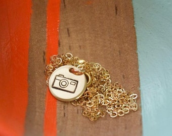 camera necklace | photographer necklace | hand stamped | photography | gift for her | gift under 30 | camera jewelry