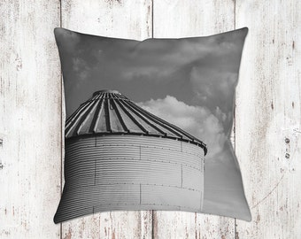 Silo & Clouds Decorative Pillow - Throw Pillows - Farmhouse Decor - Black White Decor - Gifts - Rustic - Country Decor