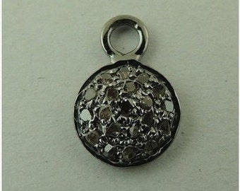 Pave Diamond Round Disc 925 Sterling Silver -Round Shape Diamond Disc pendant 16mmx11mm