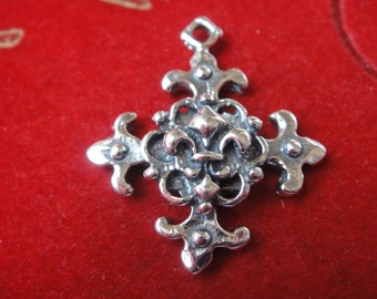 925 sterling silver oxidized cross fleur de lis, silver fleur de lis cross, silver cross