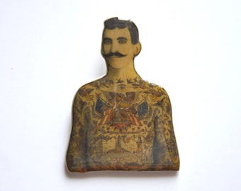 Badge vintage and retro / tattooed man brooch. Victorian jewelry