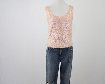 1960s Blush Pink Beaded Sweater