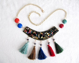 Tassel Necklace Colorful Beaded Necklace Gold Chain Charm Necklace  Bohemian Necklace Costume Embellishment