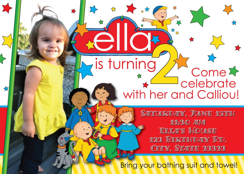 Caillou Girl/Boy Customizable Birthday Invitation digital