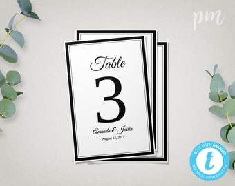 Wedding Table Number Template, Printable Wedding Table Number Card, Instant Download Wedding Template, Diy Table Numbers, Double Border