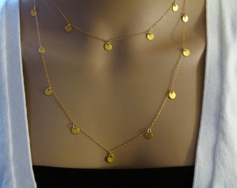 """36"""" Tiny Disc Long Gold Necklace, 36 inches, hollywood, modern, casual, formal, bridal, bridesmaids gift"""