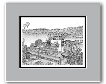 The Valley - Stillwater, Minnesota - Matted Limited Edition Print
