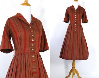 Vintage 1950s Dress | 50s Autumnal Striped Shirtwaist Dress | Rust Red and Orange | M L