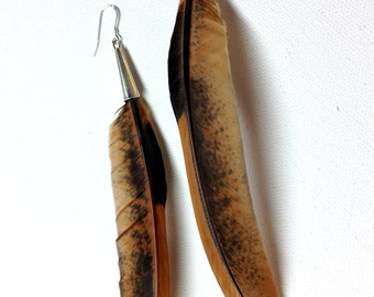 Unique Rooster Feather Earrings with Silver Cap