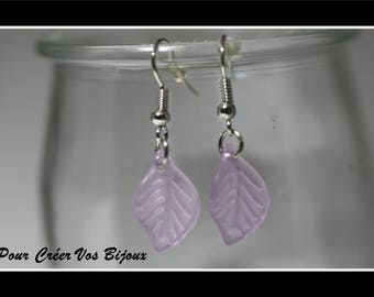 Earrings Kit and its leaf purple clear acrylic