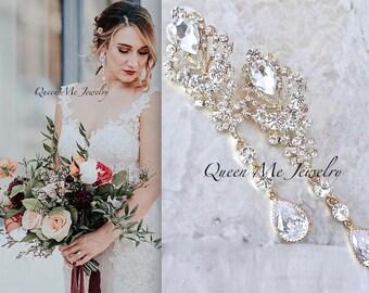 Long Yellow Gold Chandelier wedding earrings Gold crystal Statement earrings Bridal earrings Brides earrings Jewelry For a bride CAMI