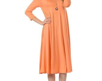 A-Line Trapeze Midi Dress Peach