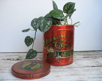 Rodda Candy Tin, Sparkling Gems, Antique Advertising, Home decor tin with lid