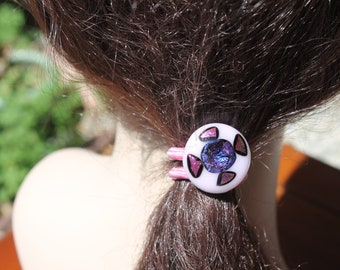 Decorative-Hair accessory-Ponytail elastic-pink-gold-dichroic fused glass-scrunchy- ponytail holder
