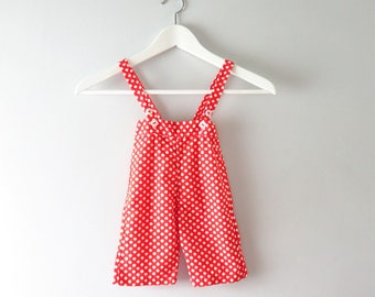 Vintage Baby Clothing | 1960s Red White Polka Dot Overalls  - 0 to 3 mos Deadstock