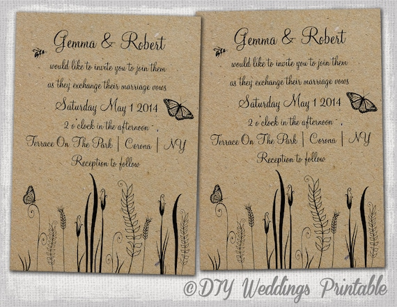 Superb Rustic Wedding Invitations Template Editable Butterfly