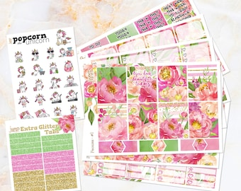 Peonies floral spring summer weekly set / kit stickers - for Erin Condren VERTICAL Planner - Mother's Day watercolor pink coral U