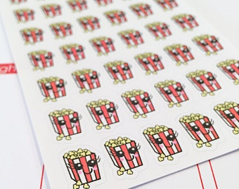 42 Kawaii Movie Night Popcorn Planner Stickers- perfect for your Erin Condren planner, Plum Paper planner and scrapbooking pages