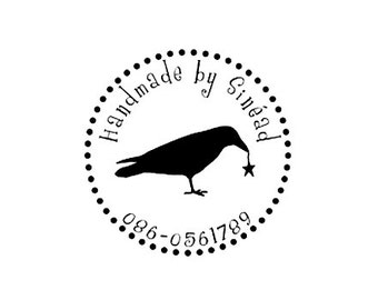 Custom Crow with dotted Border Rubber Stamp