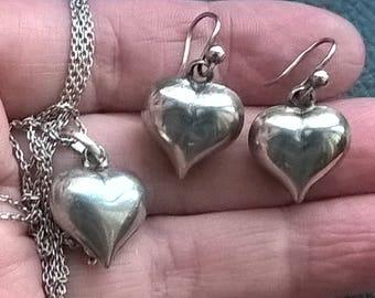 Set x Vintage 925 Silver Dangle Heart Earrings Chain Pendant