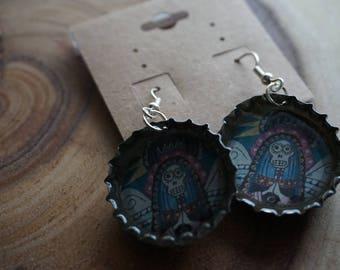 Reclaimed Bottle Cap Earrings. Mary Blue.