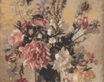 Flowers Cross Stitch Chart, A Garden Bunch Cross Stitch Pattern PDF, Art Cross Stitch, Floral Cross Stitch, George Lambert, Embroidery Chart