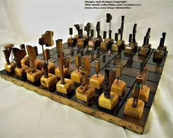 1909 Antique piano parts chess set and Optional 17 inch repurposed table top board #1120160020- Free Shipping to U.S.