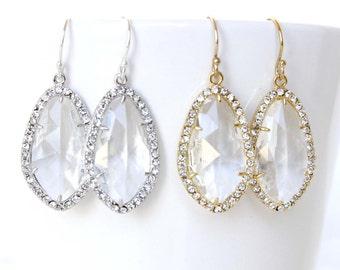 Crystal Clear Drop Earrings Bridal Earrings Cubic Zirconia Framed Earrings Gold and Crystal Earrings CZ frame Earrings Crystal Clear Silver