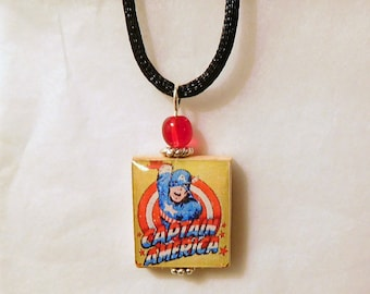 CAPTAIN AMERICA Jewelry / Vintage Art - Super Hero Pendant / Upcycled SCRABBLE Tile Necklace with Cord / Charm