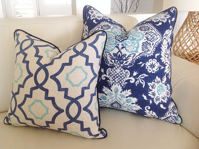 hamptons cushion covers aqua royal blue floral cushion cover. Black Bedroom Furniture Sets. Home Design Ideas