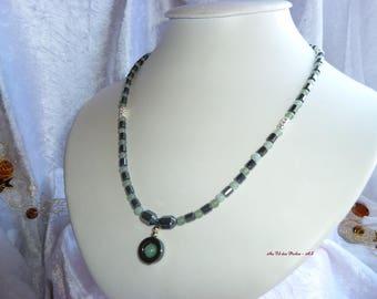 Genuine HEMATITE and AMAZONITE necklace