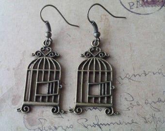 Bird cage earrings ~ bronze ~.