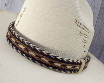 BOLDEST, Horsehair hat band, Cowboy horsehair hat band, No tassels, natural colors, wider style, horsehair hat band, Western hat band, Rodeo