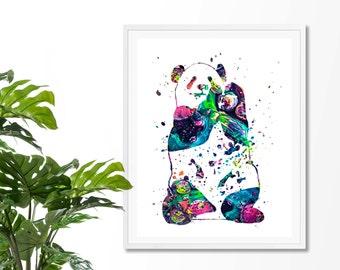 Watercolor Panda  Bear #7 Fine  Art Print, Poster, Wall Art, Home Decor, Kids Wall Art, Play Room Wall Art, Nursery Wall Art, Archival print